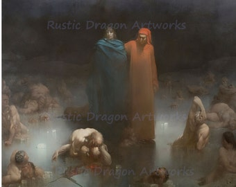"Gustave Dore ""Dante and Virgil in Ninth Circle of Hell"" 1861 Reproduction Digital Print Dante Virgil Souls"