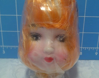 "Vinyl Doll Head with Blonde Rooted Hair - 5"" Tall with 1"" Neck"