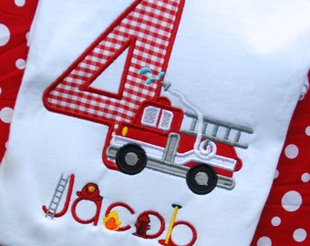 Firetruck Birthday Shirt, Firefighter Birthday Shirt, Fireman Birthday Shirt