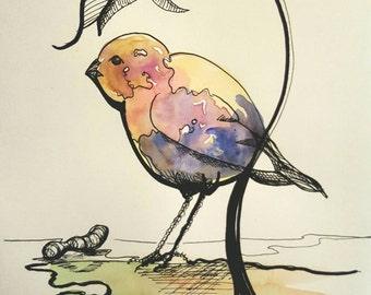 Lil Birdie #1, 6x8 watercolor painting