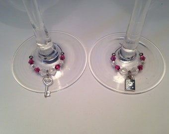 Valentine Love Anniversary Engagement Gift Wine Glass Charms Set (2)