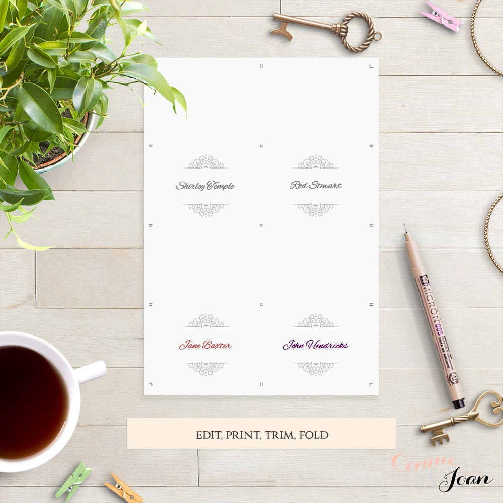 printable table place name cards silver flat and by connieandjoan