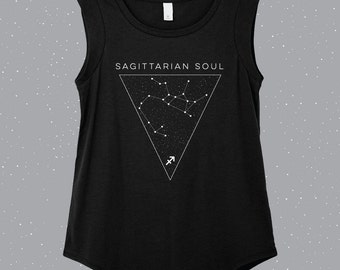 Sagittarian Soul | Sagittarius  Sleeveless Shirt, astrology shirt, constellation shirt, Zodiac shirt, Zodiac top