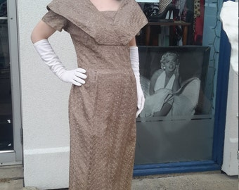 free shipping brown brocade vintage 1940 day dress for women