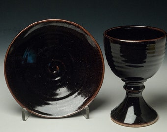 simple clay chalice and paten set, communionware, common cup