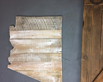 Arizona Pallet State Cutout, Classic with saw marks and rough cut grain showing through! Any state available