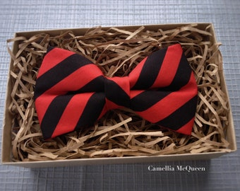 SALE! Men's bow tie, boys' bow tie, black and red striped bow tie