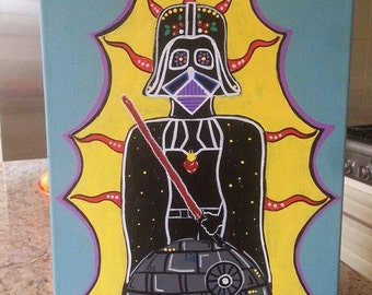 """Star Wars Day Of The Dead Painting """"Soy Tu Padre"""" Sugar Skull SALE CODE 15% OFF"""