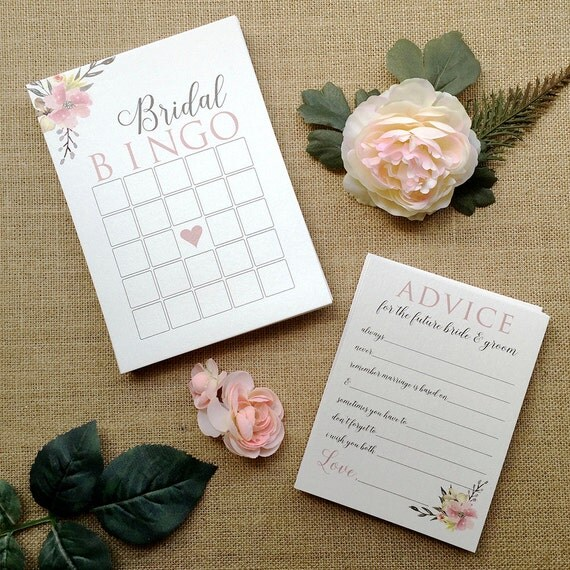 Bridal Shower Stationery - Bridal Bingo Cards - Advice Cards for the Future Bride and Groom - Ivory Shimmer Card Stock with Blush Flowers