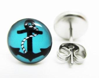 Blue Anchor Earrings - New - Pair!