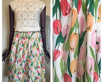 Tulips! Novelty Print Cotton Skirt