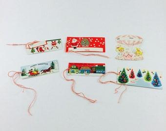 Set of six NEW 1950s Christmas gift tags