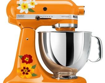 Pretty Lily and Garden Flower Kitchenaid Mixer Mixing Machine Decal Art Set
