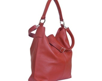 Huge Leather Tote HOBO With Long Strap Red Color