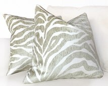 "Ethan Allen Beige Large Animal Stripe Zebra Tiger Designer Upholstery Pillow Cushion Zipper Cover, Fits 16"" 18"" 20"" 22"" 24"" Inserts"