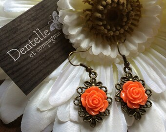 Orange cabochon earrings, acrylic flower, bronze