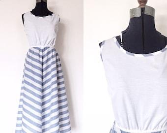 1970s Blue and White Chevron Striped Dress