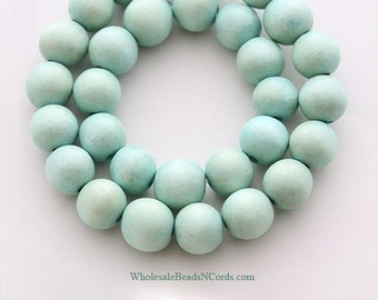 15 inch Strand 10mm Round WOOD Beads - MINT GREEN - Natural - Wholesale Wooden Beads - Fast Ship - Usa Seller 0554D