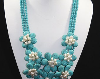 Wired turquoise flower and freshwater pearl necklace