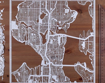 Paper cut map Seattle, 12×12 In. Paper Art IDEAL GIFTS