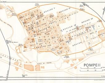 1959 Pompeii Italy Vintage Map