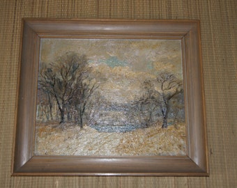 Vintage 1944 - Oil Painting - Road to water - Eastern European impressionism - Canvas Board - 15.5 x12.5