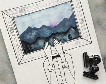 Florence Paints the Mountains // GALLERYWALL ART PRINT Watercolor 5x7