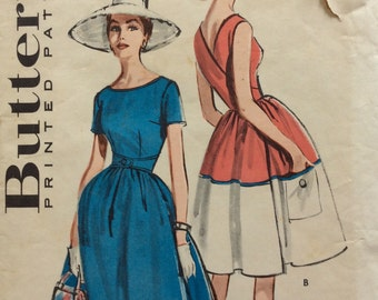 Butterick 9007 vintage 1950's misses wrap-around dress sewing pattern size 12 bust 32