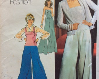 Simplicity 6041 vintage 1970's misses cardigan, camisole top and wide leg pants sewing patten size 12 bust 34  Uncut  Factory folds