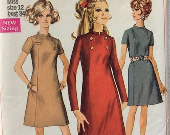 Simplicity 7796 misses A-line dress size 12 bust 34 vintage 1960's sewing pattern