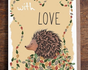 """Illustrated Hedgehog Autumn 'With Love' Blank Greeting Card 7x5"""""""