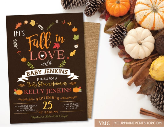 Pumpkin Fall Baby Shower Invitation, Fall In Love Baby Shower Invite, Burlap Autumn Shower, Neutral A Little Pumpkin Is On The Way