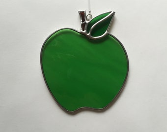 Stained glass green apple suncatcher, stain glass granny smith apple, green apple, teacher gift