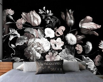 Dark Floral Removable Wallpaper Peel U0026 Stick Self Adhesive Wall Mural Still  Life Flowers Illustration Part 65