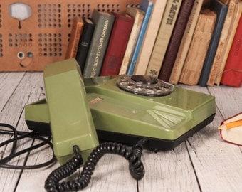Rotary Phone, Vintage Rotary Phone, Old Rotary Phone, Vintage Green Phone, Desk Phone, Vintage Home Bar Bub Decor, Rotary Dial Phone