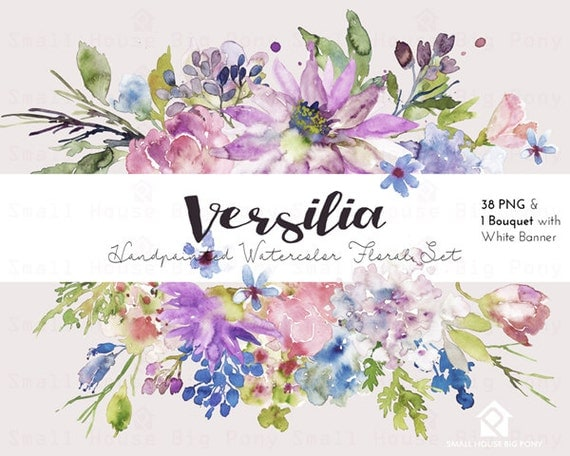 Watercolour Flower Clip Art -  Handmade, watercolour clipart, digital download, instant download, wedding diy elements, flowers - Versilia