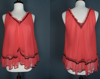 70's Sheer Red Baby Doll Top