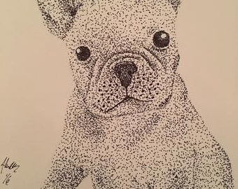 Stipple French Bull Dog with FREE frame
