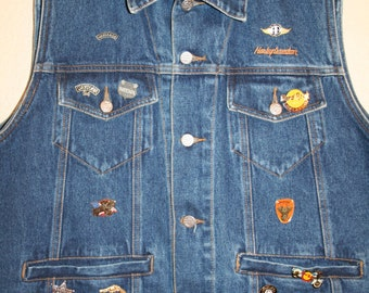 Authentic Harley Davidson Vest with 15 Pins