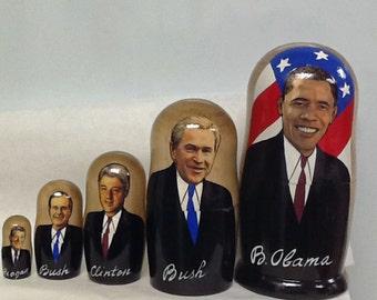 Russian Authentic Matreshka  - FIVE AMERICAN PRESIDENTS  5-pc. Set