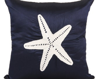 Starfish Pillow Nautical Blue Pillow Accent Couch Sofa Pillow Coastal Starfish Pillow Dark Blue Nautical Pillow Blue Starfish Pillow