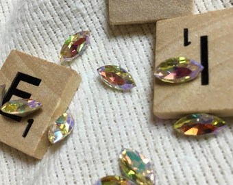 Vintage Rhinestone Navettes - AB Crystal with Silver Foil Backing - 20 Pieces