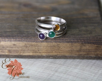 Stacking Sterling Silver Birthstone Rings, Mom's Rings, Personalized Bands