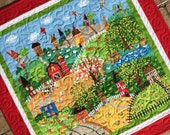 Quilted farm scene wall hanging