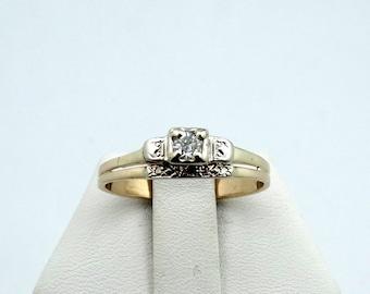 Vintage 1930's  Diamond 14K Yellow Gold Bridal Set #1930DIA-GR4