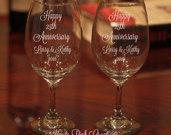 Anniversary Wine Glasses, Etched 25th Anniversary Gift, Wedding Anniversary Wine Glasses, Stemless Wine Glass, 25th Anniversary, Set of 2