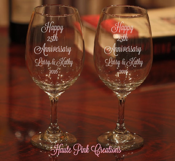 Etched Glass Wedding Gifts: Items Similar To Anniversary Wine Glasses, Etched 25th