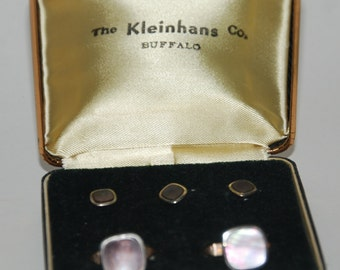 Genuine Vintage ca 1950s Formal Smokey Abalone Tuxedo Studs and Links Set  -- Free Shipping!