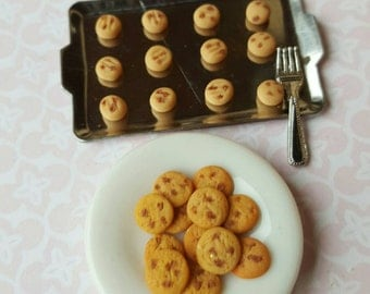 Miniature cookies, dollshouse biscuits, dolls house chocolate cookies, ready to bake miniature cookie board