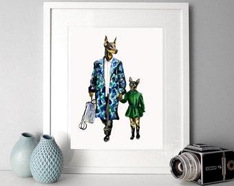 Animals in clothes-nursery art print-animal art print-dog watercolor-animal watercolour-fashion illustration-father and son-dressedfur